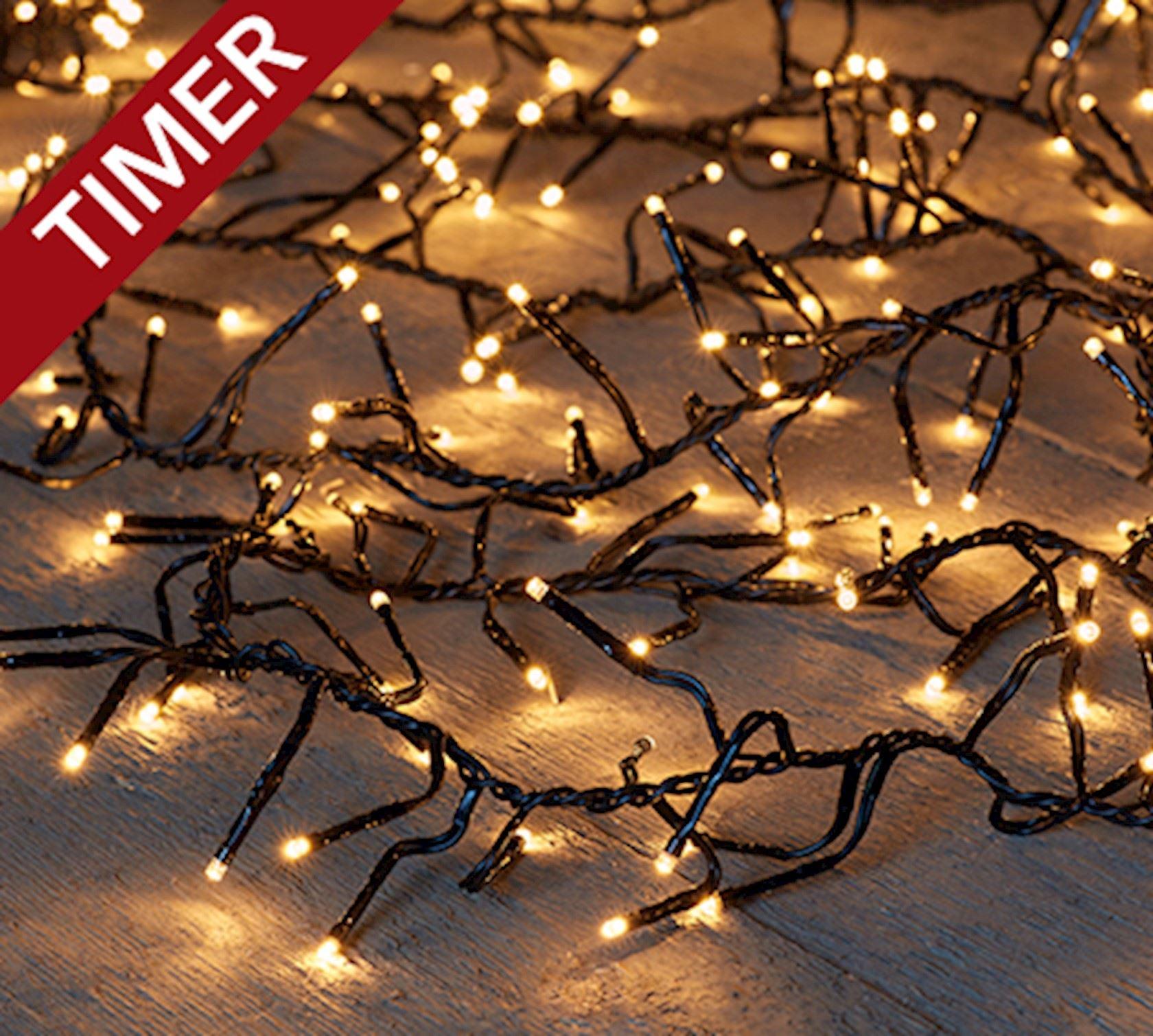 Kerstlampjes wit (warm) cluster 15m met 1152 LED-lampjes