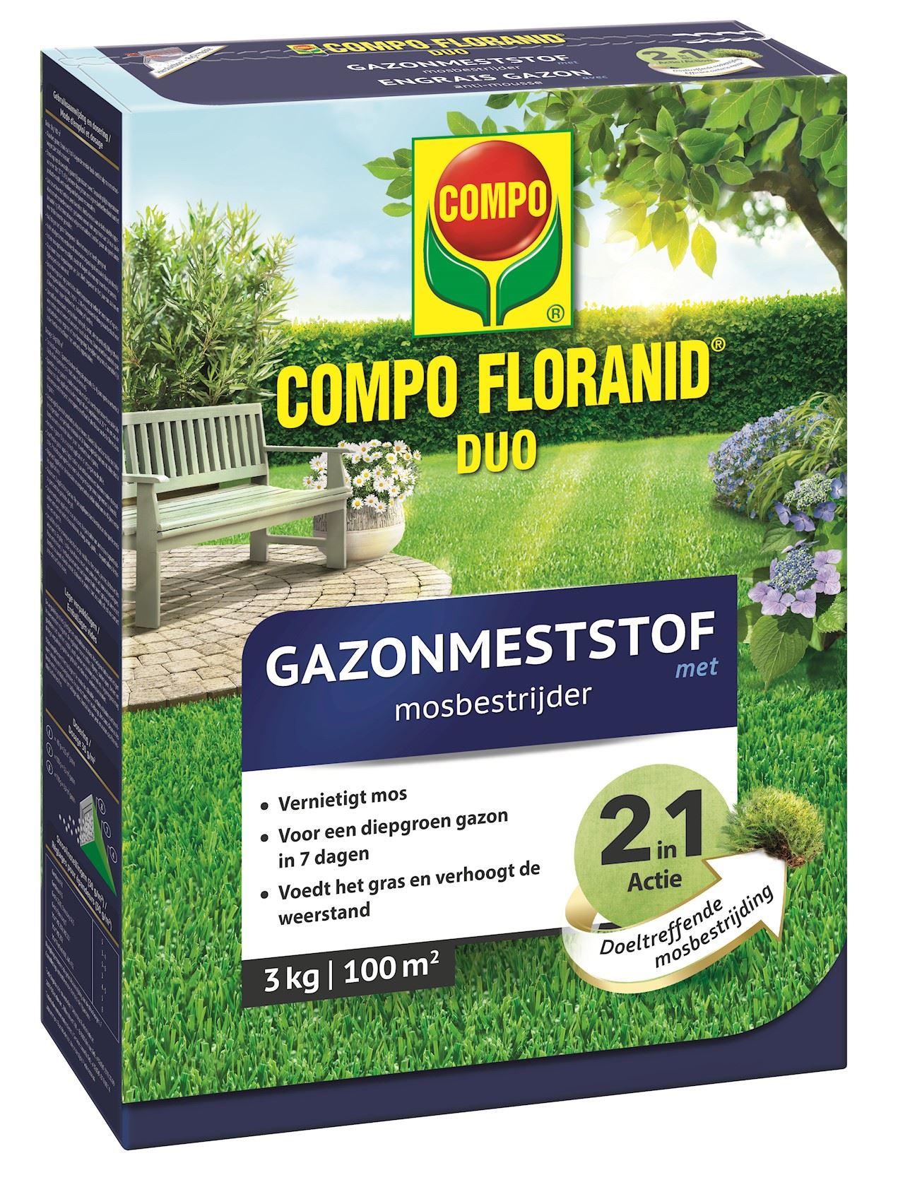 Compo floranid duo gazonmeststof met mosbestrijder  - 3kg