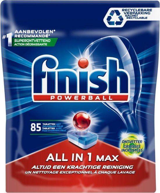 Finish All in One Vaatwastabletten Powerball Max grease fighter - 85 stuks