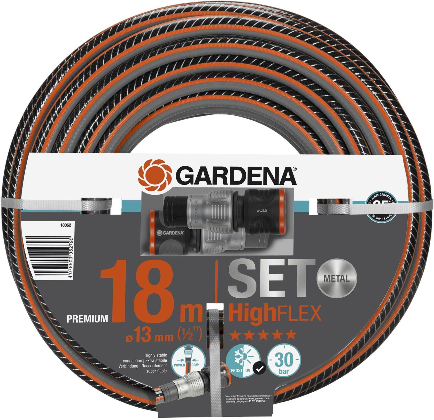"Gardena Highflex slang 13 mm (1/2""), 18 m + premium ogs (incl. armatuur)"