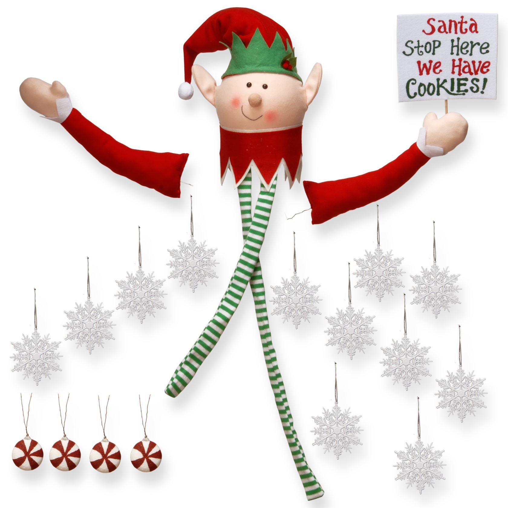 Decoratiekit kunstkerstboom kerstman elf (19 onderdelen)