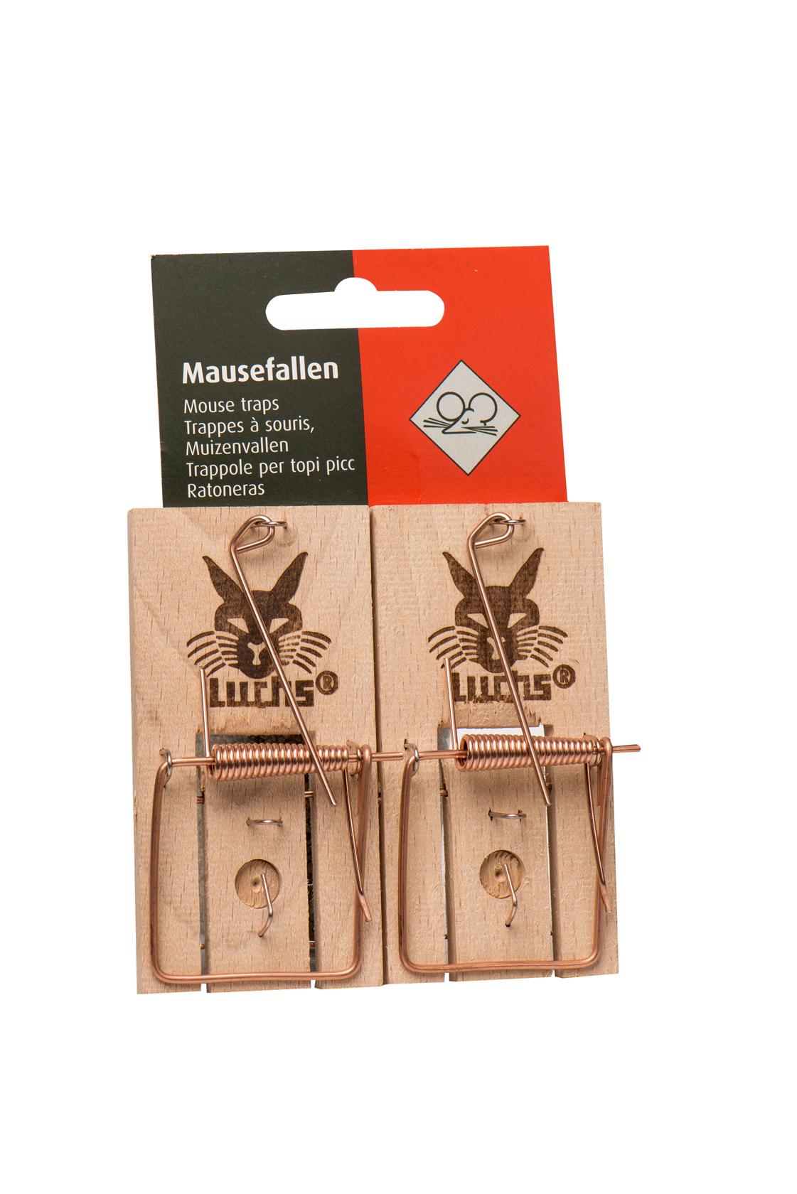 Klassieke houten muizenval Luchs met blister 2 stuks