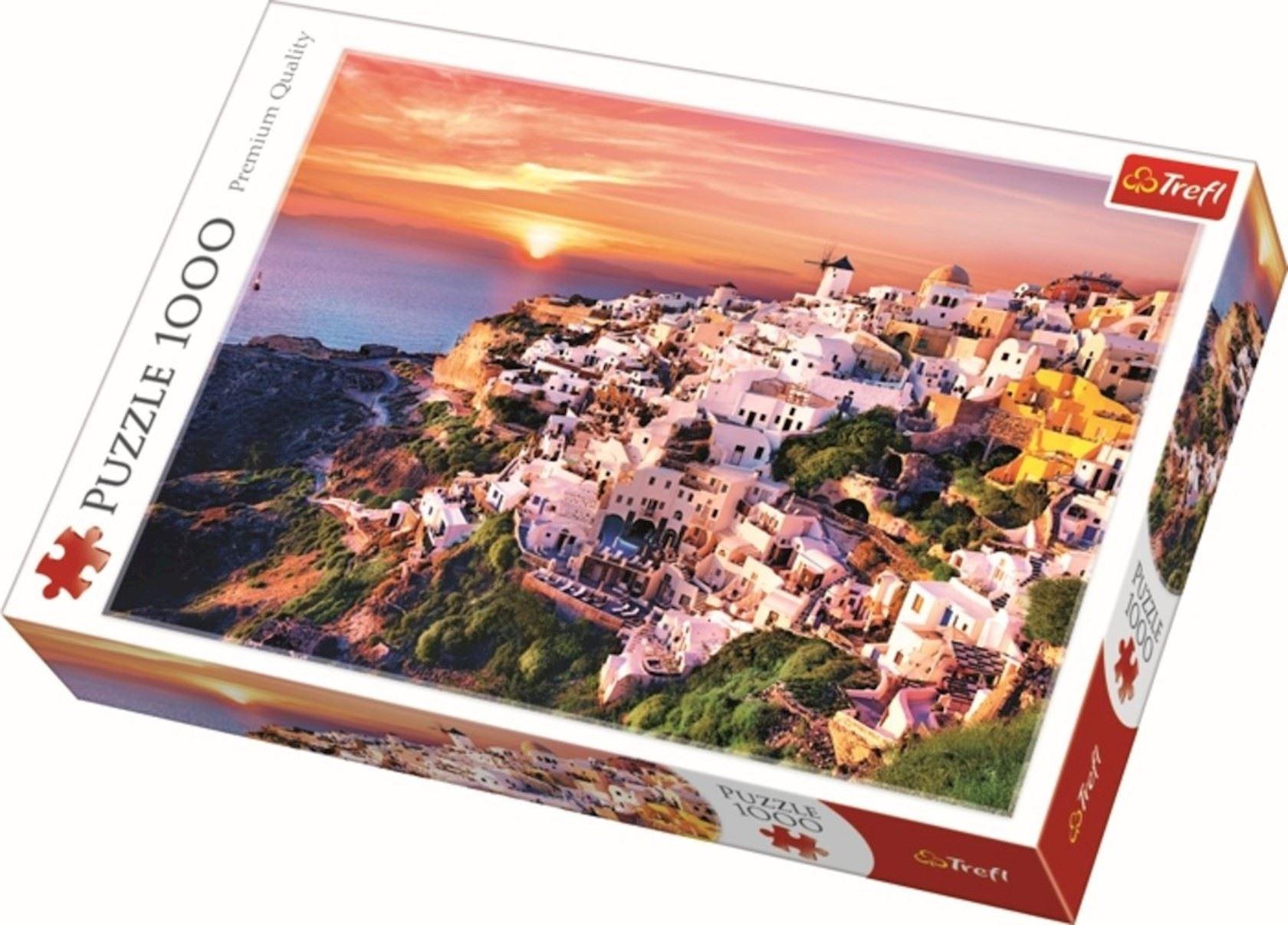Puzzel Trefl 1000 stuks - Zonsondergang over Santorini